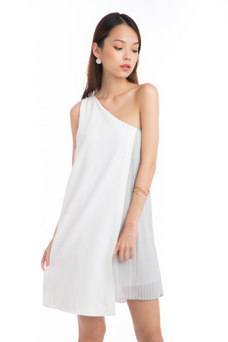 Alyia Toga Pleated Dress in White