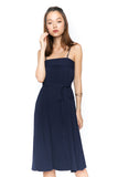Jaylene Bandeau Pleated Midi in Navy