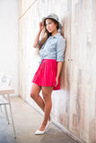 Christy Pleated Skorts In Red - Mint Ooak - Skorts - 1