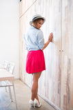 Christy Pleated Skorts In Red - Mint Ooak - Skorts - 5