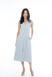 Button Pocket Midi in Powder Blue