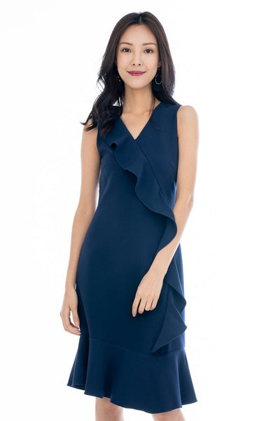 Jasmine Cascade Ruffle Dress in Navy