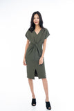 Sleeved Knoted Midi In Olive