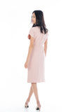 Sleeved Knoted Midi In Powder Pink