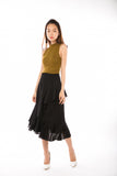 Julianna Cascade Ruffles Sway Skirt  in Black