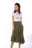 Julianna Cascade Ruffles Sway Skirt  in Army Green