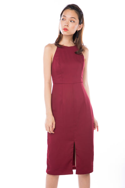 Chanelle Centre Split Midi in Wine
