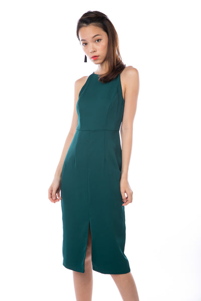 Chanelle Centre Split Midi in Forest
