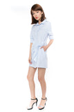 Esther Wrap Shirt Dress in Powder Blue - Mint Ooak - dress - 3