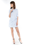 Esther Wrap Shirt Dress in Powder Blue - Mint Ooak - dress - 2