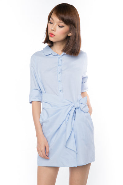 Esther Wrap Shirt Dress in Powder Blue - Mint Ooak - dress - 1