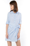 Esther Wrap Shirt Dress in Powder Blue - Mint Ooak - dress - 4