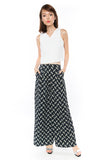 Bestly Abstract Print Wide Leg Pants In Blue - Mint Ooak - Bottom - 3