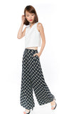 Bestly Abstract Print Wide Leg Pants In Blue - Mint Ooak - Bottom - 4