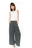 Bestly Abstract Print Wide Leg Pants In Blue - Mint Ooak - Bottom - 2
