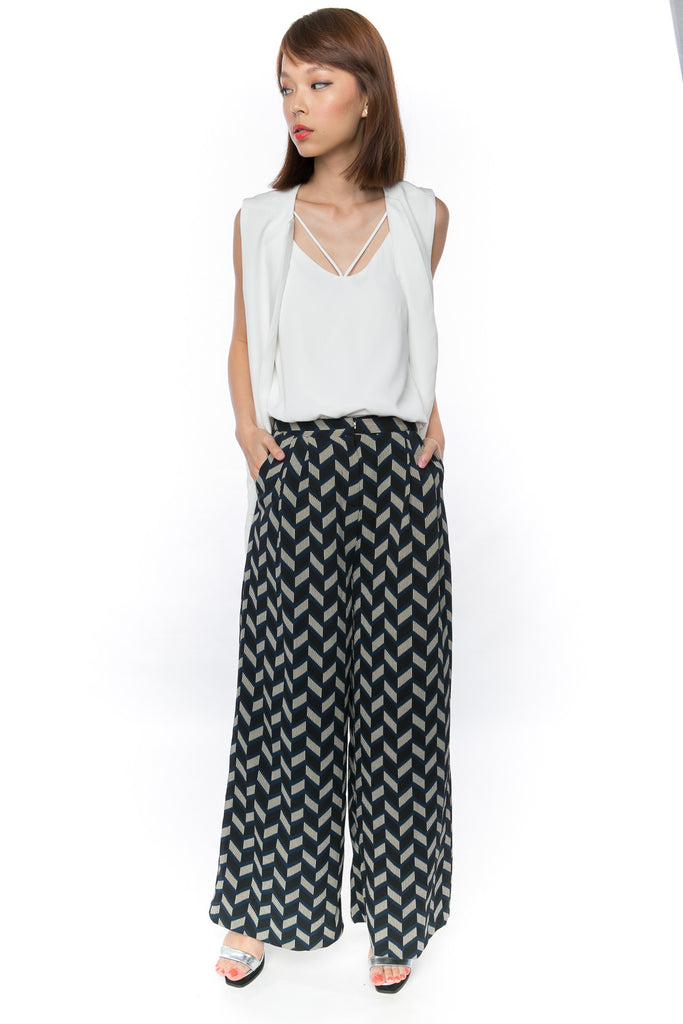 18fd710480d44 Bestly Abstract Print Wide Leg Pants In Blue - Mint Ooak - Bottom - 1