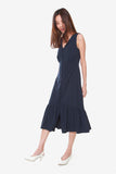 Victoria Button Down Fluted Dress in Navy