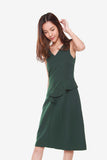 Grace Side Pleated Dress in Forest