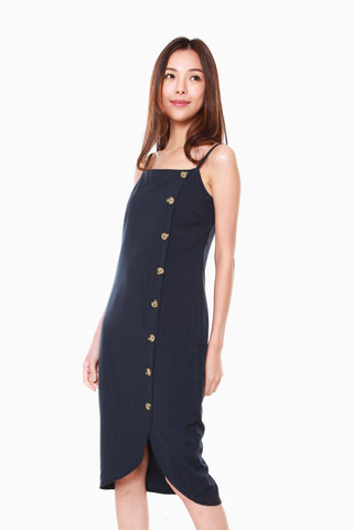 Janelle Side Button Down Dress in Navy