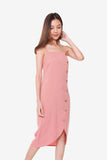 Janelle Side Button Down Dress in Rose