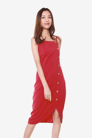 Janelle Side Button Down Dress in Red
