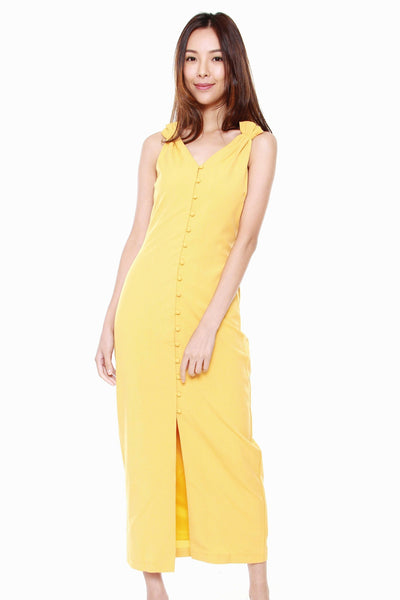 Juliana Button Down Maxi Dress in Sunshine Yellow