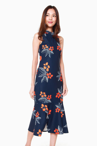 Giselle Cheongsam Peplum Dress in Navy