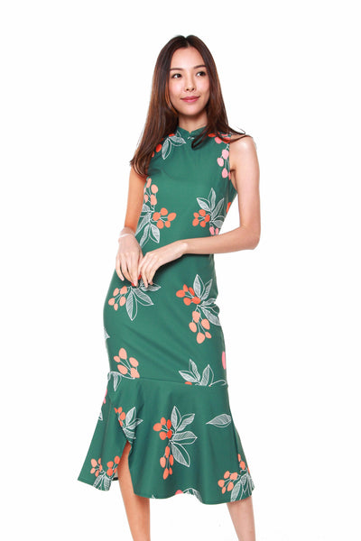 Giselle Cheongsam Peplum Dress in Forest