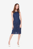 San Floral Lace Sheath Dress in Navy