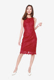 San Floral Lace Sheath Dress in Wine