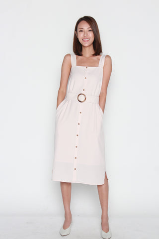 Charlene Button Down Belted Dress in Cream