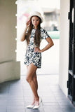 Tina Floral Sleeved Romper - Mint Ooak - Playsuit - 1