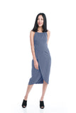 Heidi Cross-Over Dress in Grey Blue