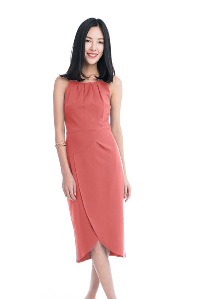 Heidi Cross-Over Dress in Salmon