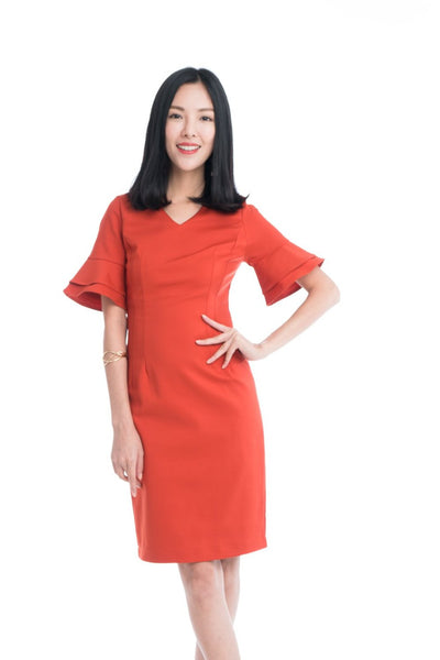 Taza Ruffle Sleeve Shift Dress in Orange