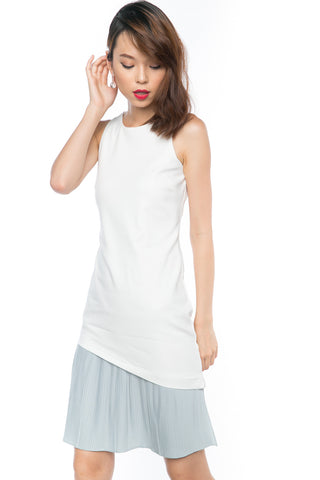 Cleo Slant Pleated Hem Colour block Midi in White