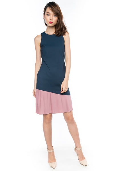Cleo Slant Pleated Hem Colour block Midi in Navy