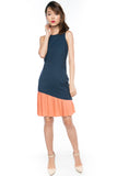 Cleo Slant Pleated Hem Colour block Midi in Burnt Orange