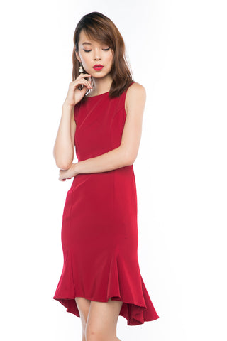Britney Mermaid High Low Dress in Deep Red