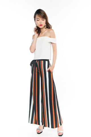 Joelin Stripes Printed Sash Palazzo Pants in Black