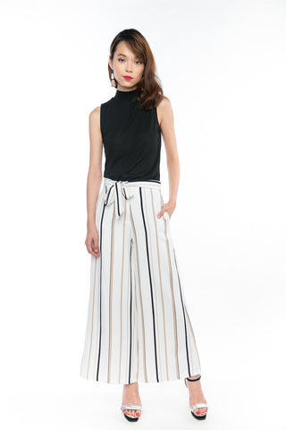Joelin Stripes Printed Sash Palazzo Pants in Cream