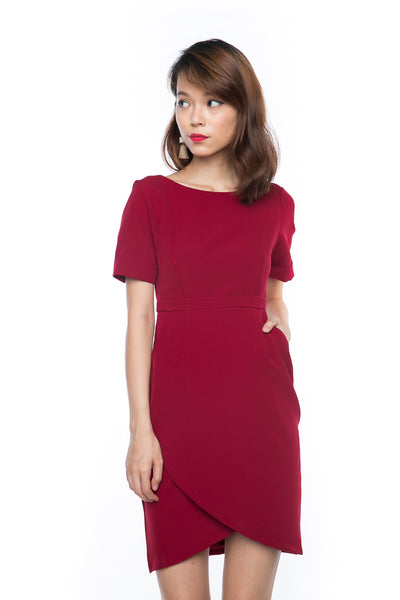Sleeved Cross Over Midi in Red