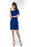 Sleeved Cross Over Midi in Blue