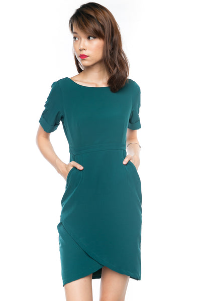 Sleeved Cross Over Midi in Green