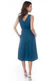 Dianna V Neck Button A Line Swing Dress In Teal