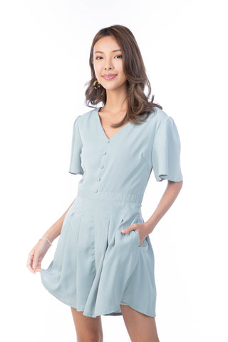 Tazza Flutter Sleeved Button Playsuit