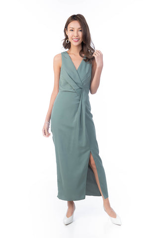 Angeline Fold Detail Maxi in Sea Green