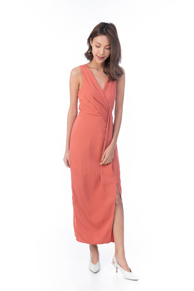 Angeline Fold Detail Maxi in Salmon