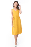 Dianna V Neck Button A Line Swing Dress In Sunshine
