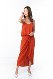 Amanda Crop Top Drape Maxi in Rust